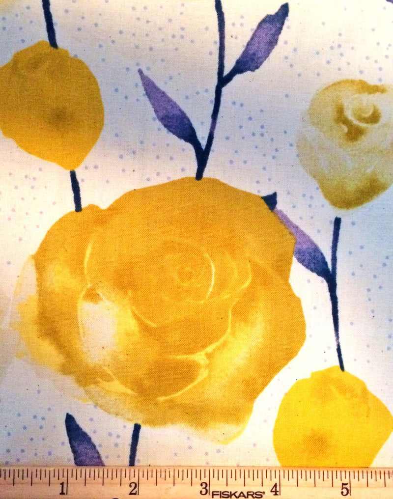 Big yellow roses on painted blue stems on white background in a pretty floral - view 5