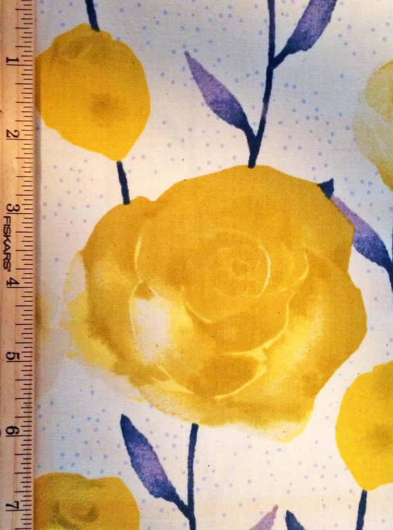 Big yellow roses on painted blue stems on white background in a pretty floral - view 6