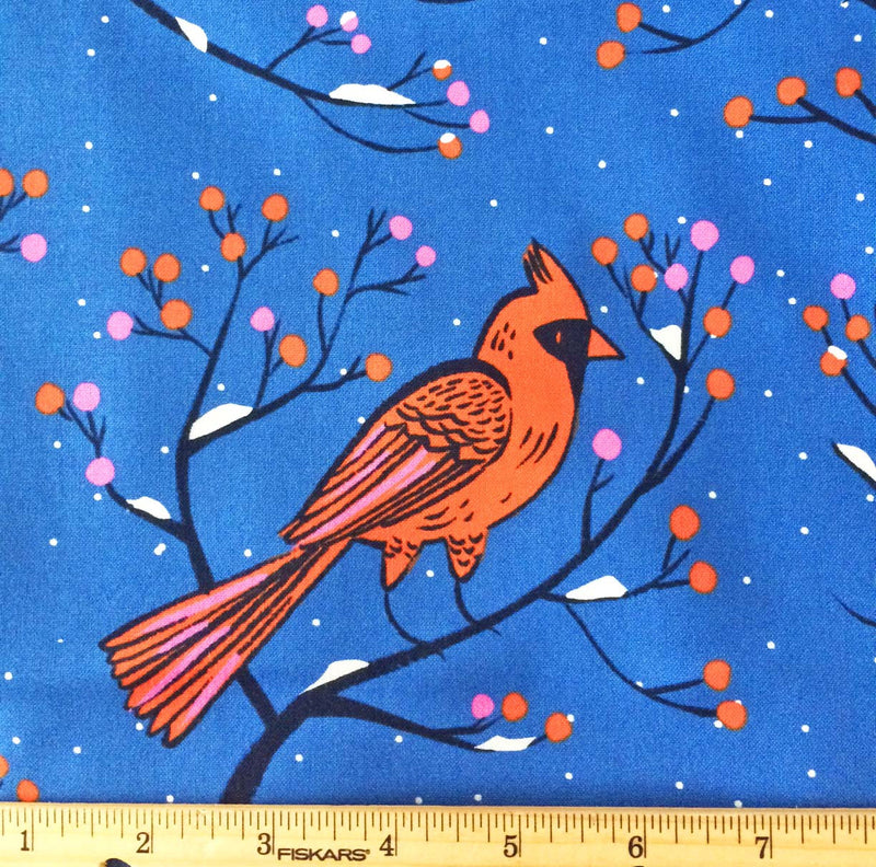 Big red cardinals sit on berry branches on bright rich blue cotton fabric - view 3