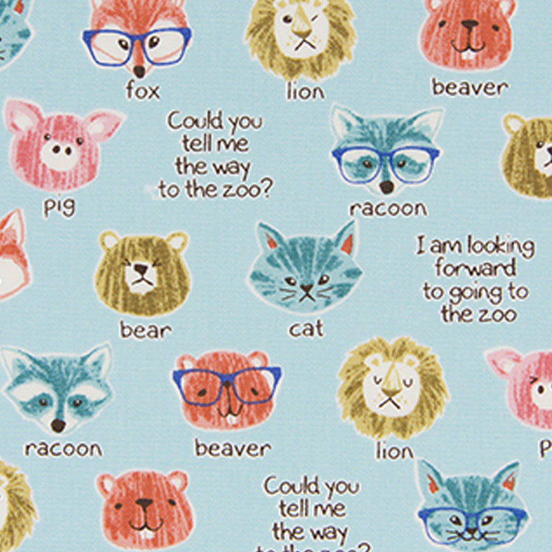 Animal faces and their names in words on blue oxford cotton - view 1