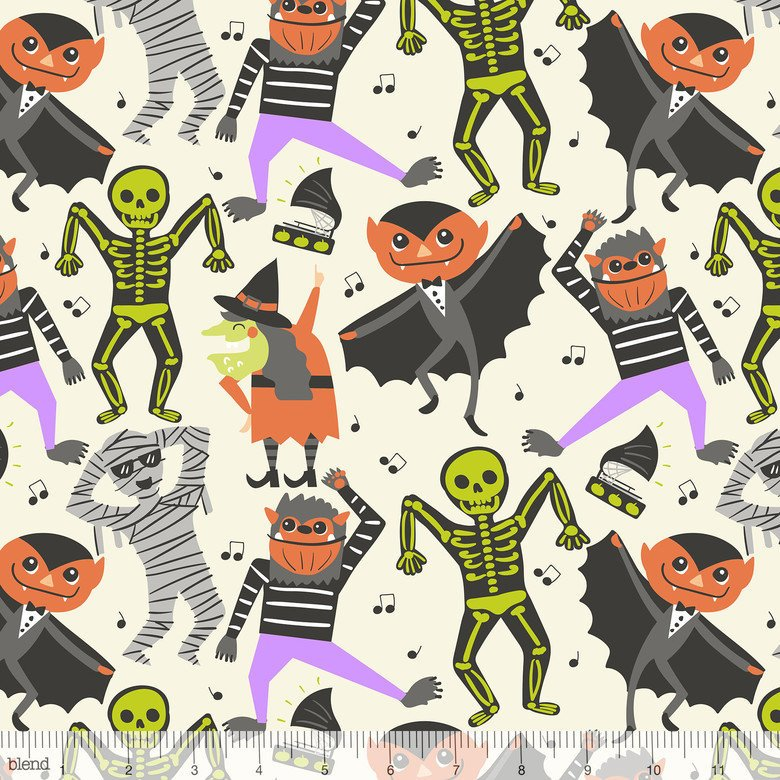 Monsters dance on white cotton fabric - view 1