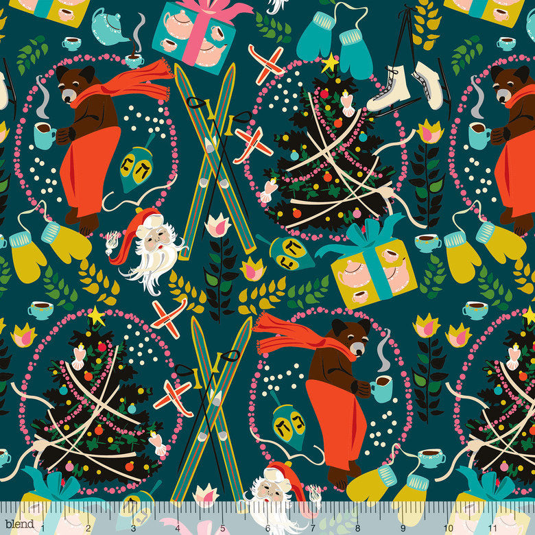 Bear and Christmas trees float on dark blue cotton ground - view 1