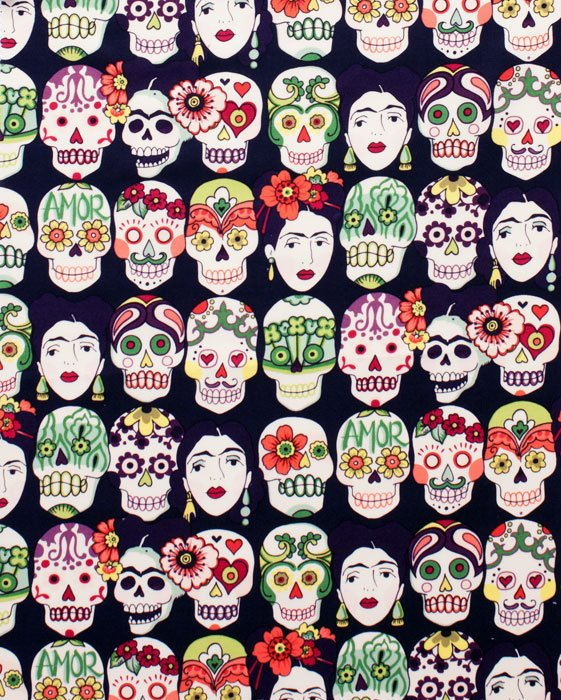 Sugar skulls and Frida Kahlo faces on dark purple cotton fabric - view 1