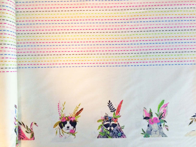 Animal faces along the edges of fabric with polka dots in the middle - view 1