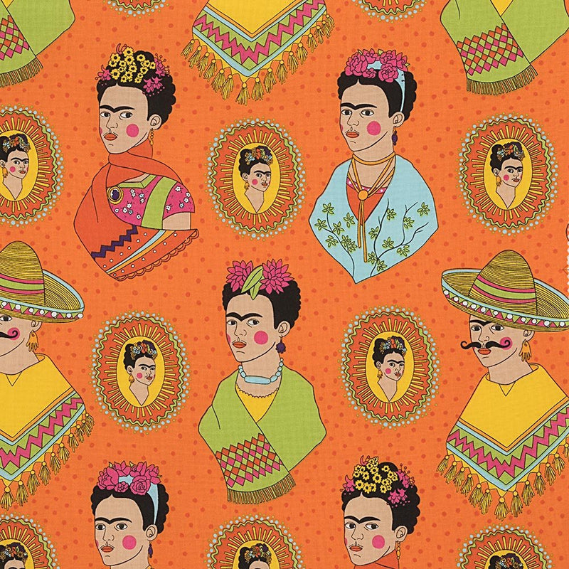 Frida Kahlo with sombreros and mustaches on a fun orange polka dot cotton fabric - view 1