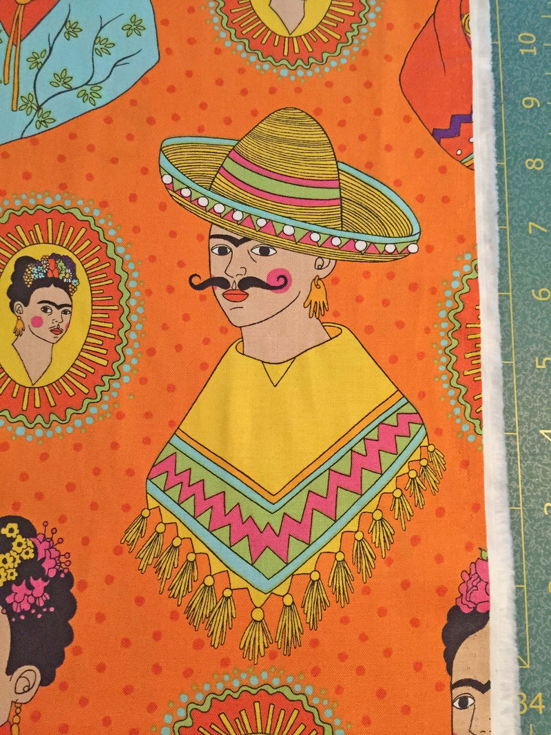 Frida Kahlo with sombreros and mustaches on a fun orange polka dot cotton fabric - view 3
