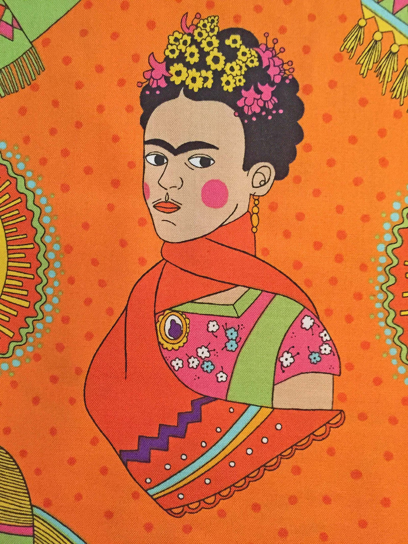 Frida Kahlo with sombreros and mustaches on a fun orange polka dot cotton fabric - view 4