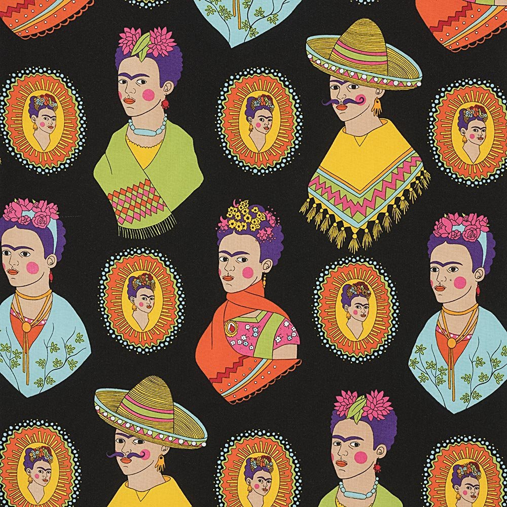 Frida Kahlo with sombreros and mustaches on black cotton fabric - view 1