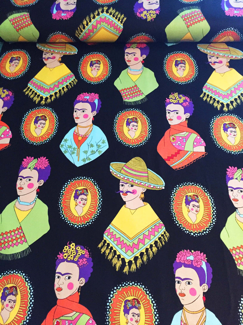 Frida Kahlo with sombreros and mustaches on black cotton fabric - view 2