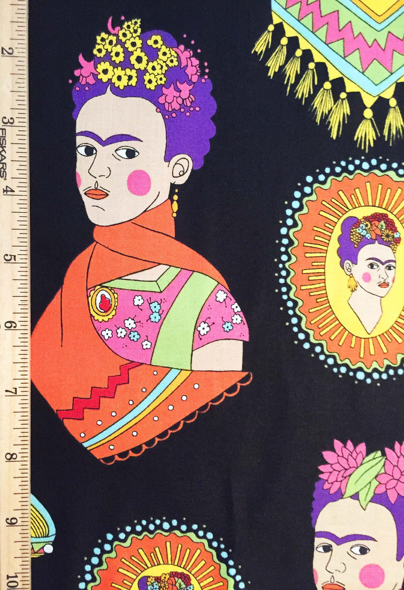 Frida Kahlo with sombreros and mustaches on black cotton fabric - view 5