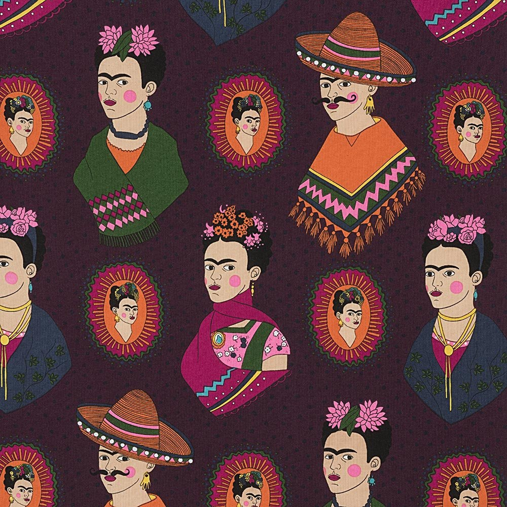 Frida Kahlo with sombreros and mustaches on a fun dark purple polka dot cotton fabric - view 1