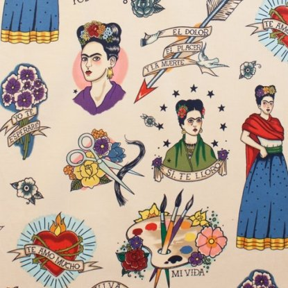 Frida figures hearts and flowers on off white cotton fabric - view 1