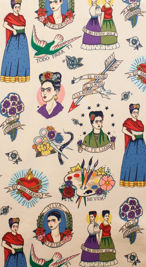 Frida figures hearts and flowers on off white cotton fabric - view 2