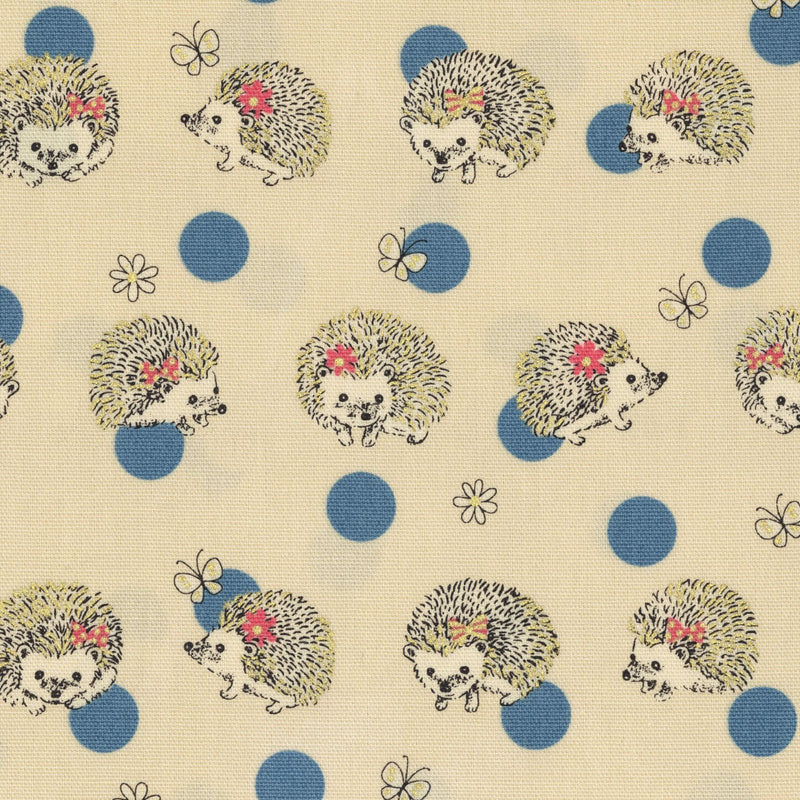 Cute little hedgehogs play with blue polka dots on cream white oxford cotton - view 1