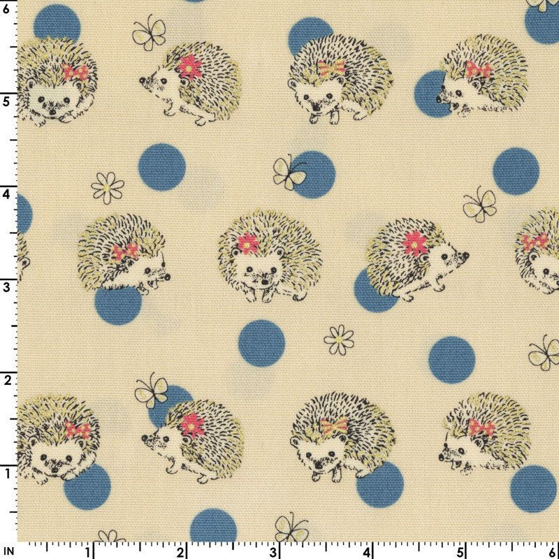 Cute little hedgehogs play with blue polka dots on cream white oxford cotton - view 2