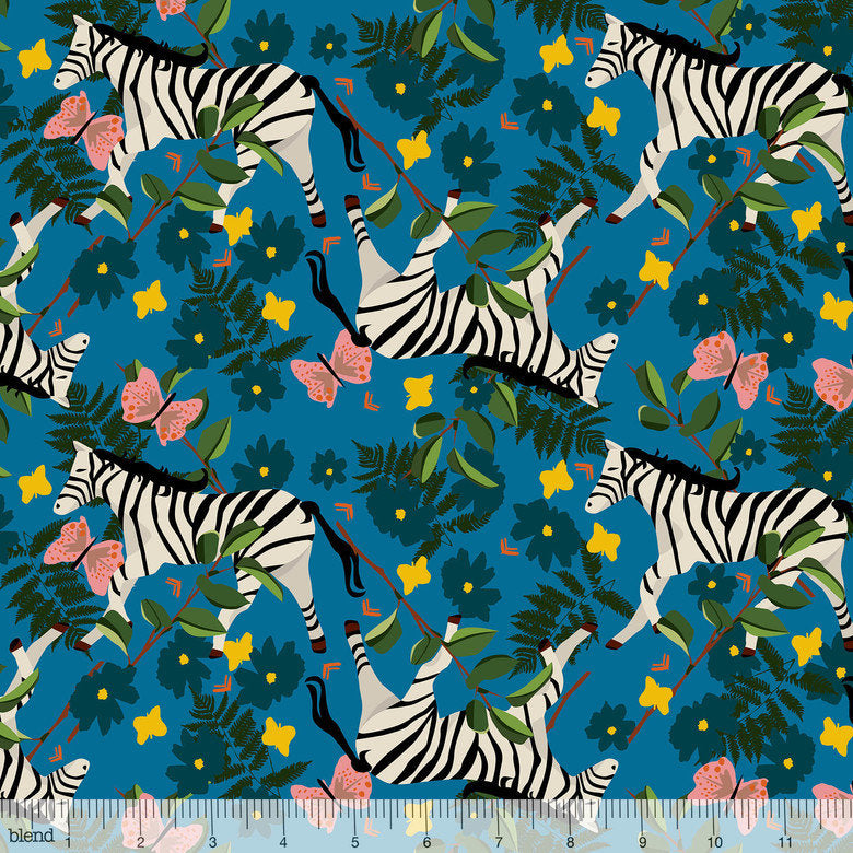 Zebras walk with flowers, butterflies, and leaves on dark blue fabric - view 1