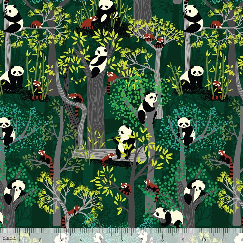 Cute pandas in the forest on green cotton fabric - view 1