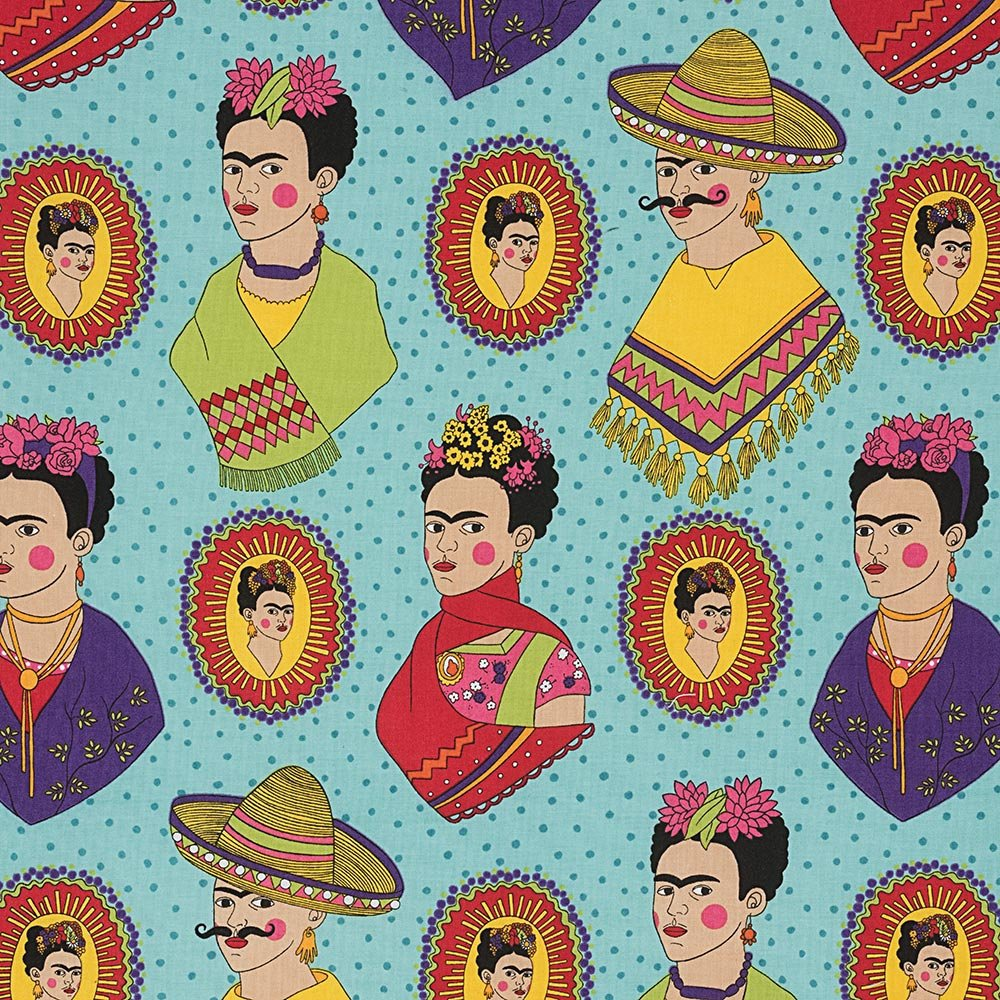 Frida Kahlo with sombreros and mustaches on a fun blue polka dot cotton fabric - view 1