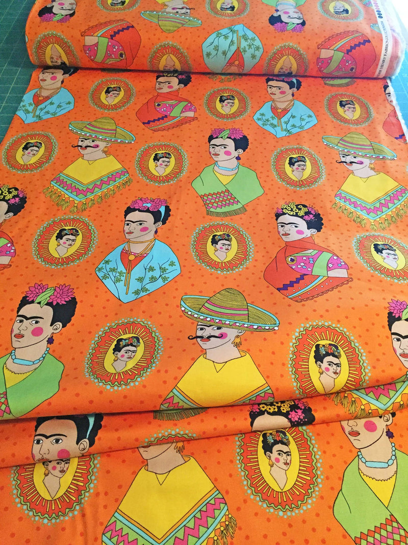 Frida Kahlo with sombreros and mustaches on a fun orange polka dot cotton fabric - view 2