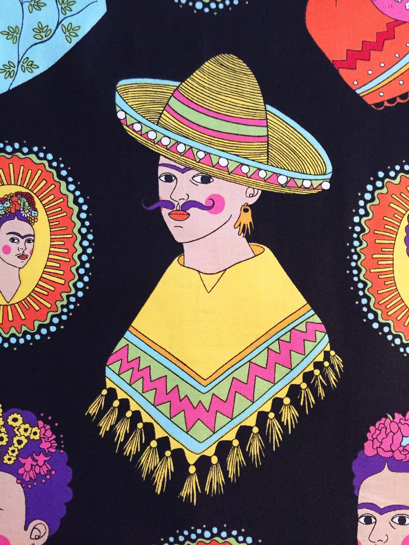 Frida Kahlo with sombreros and mustaches on black cotton fabric - view 3