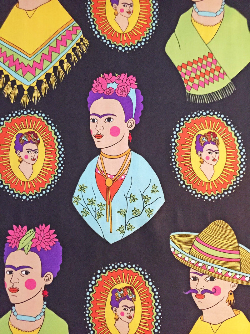 Frida Kahlo with sombreros and mustaches on black cotton fabric - view 4