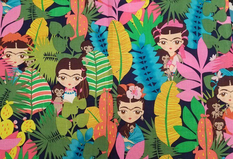 Frida figures in jungle with monkeys on dark blue cotton fabric - view 1