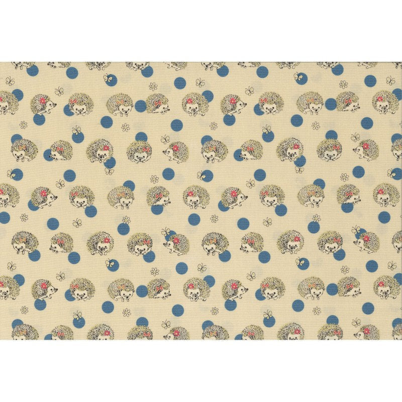 Cute little hedgehogs play with blue polka dots on cream white oxford cotton - view 3