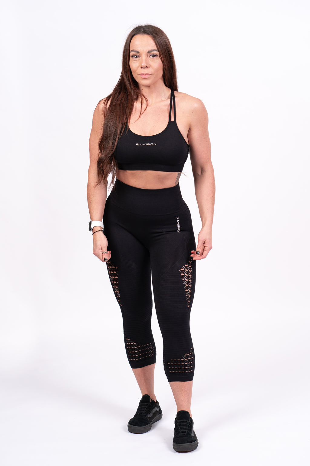 Womens Seamless Cropped Leggings (BLACK)