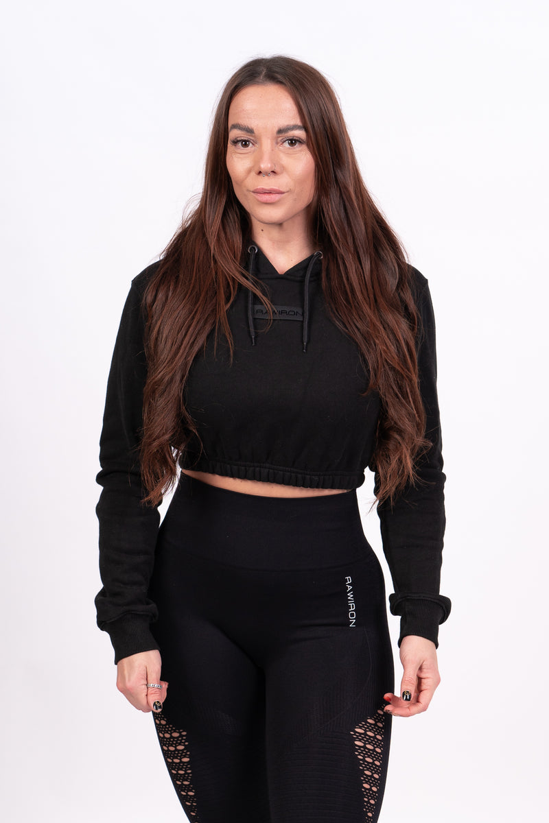 Blackout Crop Hoodie - Black