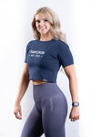 Womens Signature Crop Tee - Navy