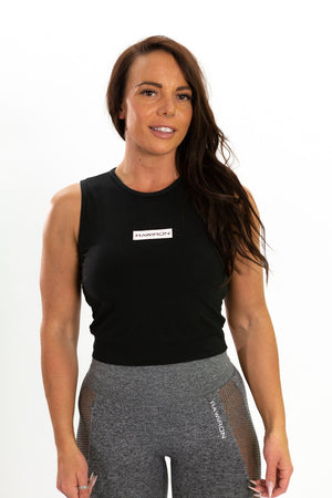 Womens Cropped Vest - Black