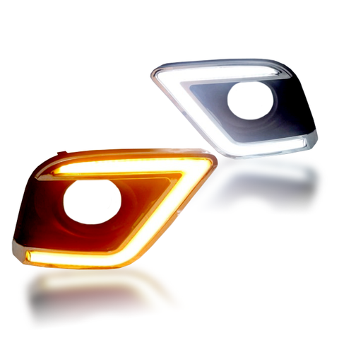 For 16-17 Toyota Hilux Revo LED Fog Lamp Covers (White, White and Yellow)