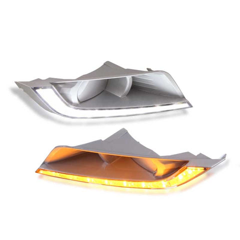 LED Fog Lamp Cover Set DRL White+Yellow Signal for 16-19 Ford Ranger (Export Model)