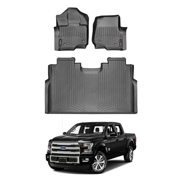 WeatherTech Floor Liners (Black) for 2015-2020 Ford F-150 SuperCrew (Crew Cab) Bucket SeatingDubl