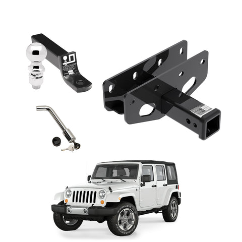 Draw Tite Towing Kit (Frame Receiver + Ball Mount + Pin Lock) for 2016-2019 Jeep Wrangler JL