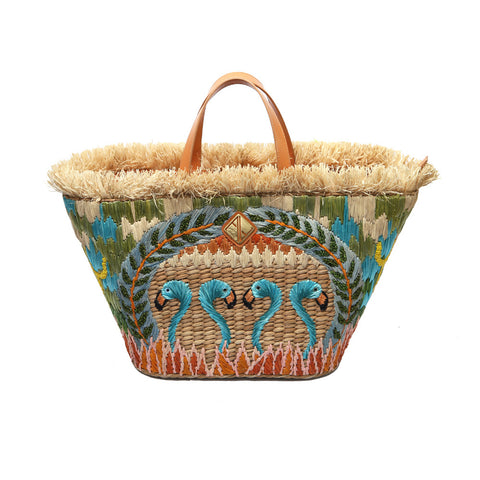 Aranaz Blue Flamingo Basket Bag
