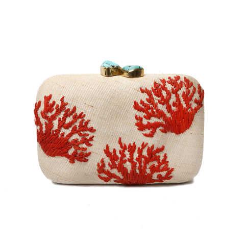 Aranaz Coral Clutch Bag