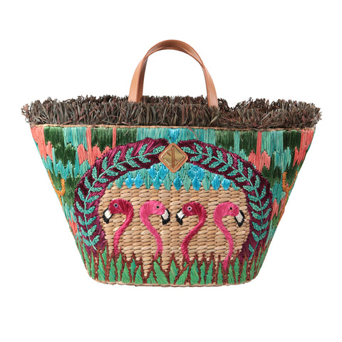 Aranaz Pink Flamingo Basket Bag