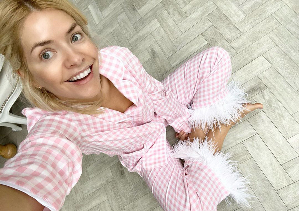 Holly Willoughby Wearing Sleeper Party Pyjamas In Pink Vichy