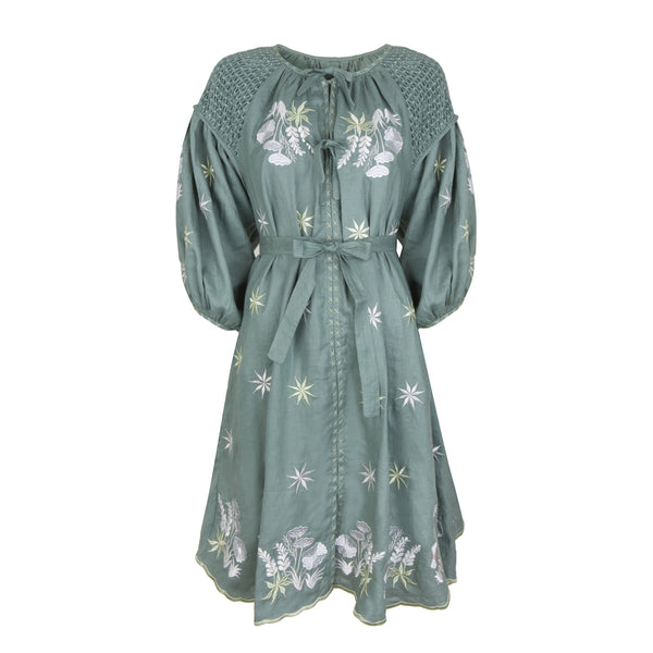 Innika Choo Green Smock Dress