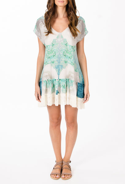 The Grecian Hippy turquoise printed silk dress