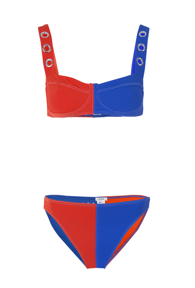 Ana Due Red And Blue High Waisted Bikini