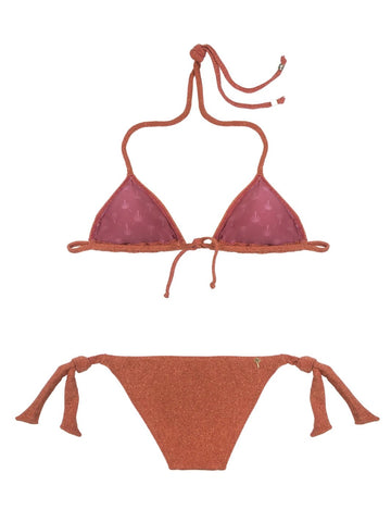 Orange Lurex Triangle Bikini