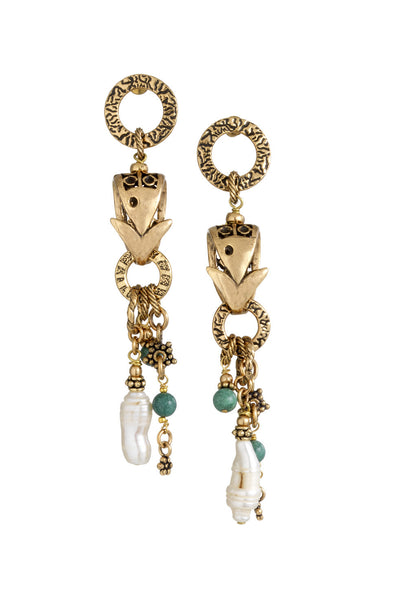 Pearl and turquoise fish drop disc earrings