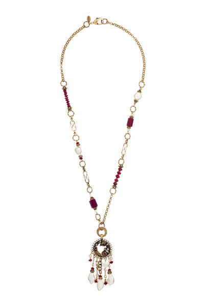 Pearl and Ruby Disc Pendant Necklace
