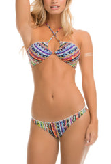 Beach Blanket Stitch Printed Bandeau Bikini Top