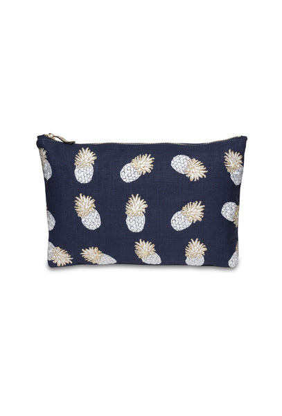 Navy Ananas Clutch Bag