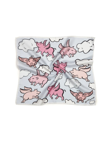 Flying Pigs Silk Scarf