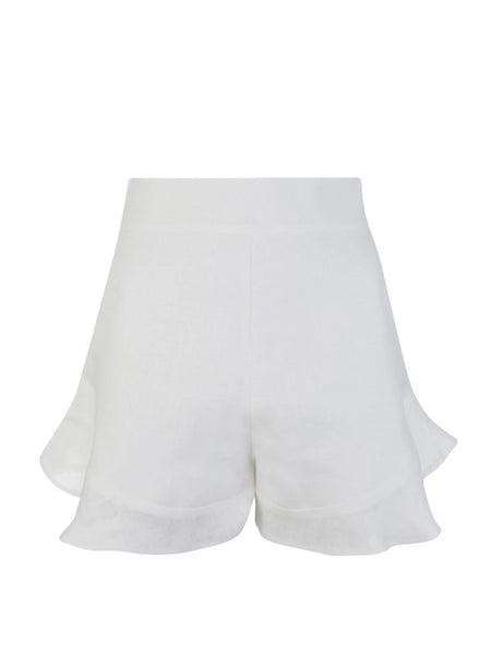White Linen Twist Shorts