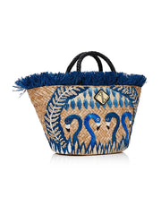 Blue Flamingo Basket Bag